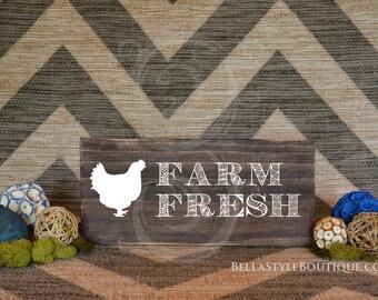"""Farm Fresh Chicken Eggs 12"""" Wood Sign"""