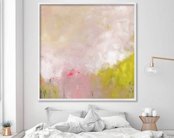 Abstract painting Giclee Print Abstract Art Acrylic Painting Extra Large Wall Art Abstract Art Print Large Painting, light pink