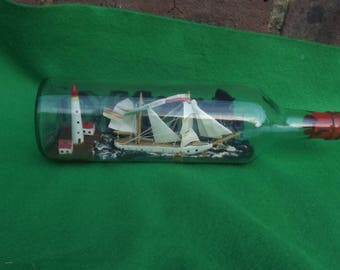 Vintage Folk Art Ship in a Bottle Hand Made Sailing Ship ANNA