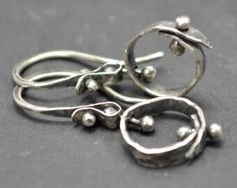 Sterling Hoop Earrings, Small Hoops, Kinetic, Pinned, Distressed Silver, Metalsmith Earrrings