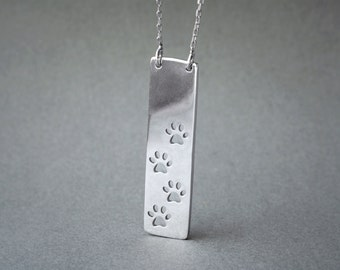 PAWS PRINT BAR Necklace / Vertical Paws Bar Necklace / Silver, Gold Plated or Rose Plated.