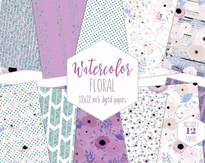 LAVENDER FLORAL WATERCOLOR Digital Paper Pack Commercial Use Stripe Backgrounds Wood Scrapbook Papers Arrow Bohemian Purple Wedding Patterns