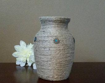 Jute Wrapped Vase With Flower Embellishments, Jute Wrapped Vase, Jute-Wrapped Vase, Jute Wrapped Flower Vase