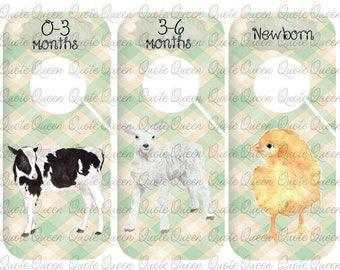 9 Farm Animal Clothes Dividers, Nursery Closet Dividers