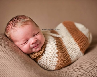 Caramel Brown and Cream Swaddle Sack Newborn Baby Photography Prop
