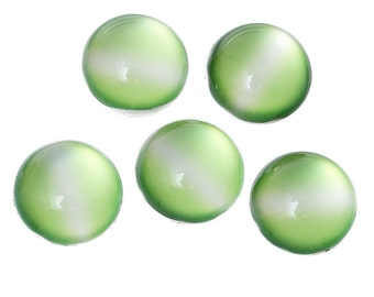 10 Cabochons 12mm - Cat's Eye - Green - Flat Backs - Ships IMMEDIATELY from California - C287