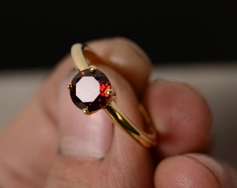 Red Garnet Ring Solitaire Ring Gemstone Yellow Gold Plated Silver Ring