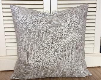 Robert Allen Sketchwork Designer Geometric Brown Decorative Zippered Throw Pillow Cushion Cover //  Modern Rustic Country Cottage Decor