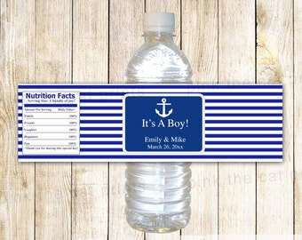 Nautical Water Bottle Label - Baby Boy Shower Anchor Royal Blue Stripes Editable File INSTANT DOWNLOAD