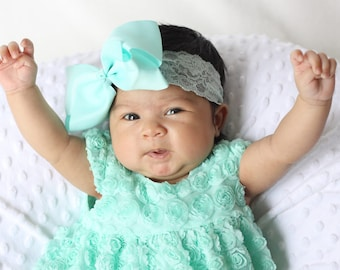baby shower gift for girl, 5 inch bow, lace headband,infant headbands, baby headband, baby gift, girl gift, new baby girl gift, easter gift