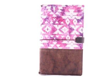 Purple Batik Fabric Cover Fauxdori, Travelers Notebook, Standard Size