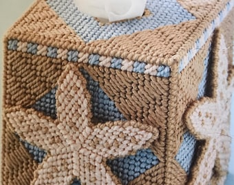 Under the Sea tissue box cover starfish design tissue box cover beach lovers needlepoint