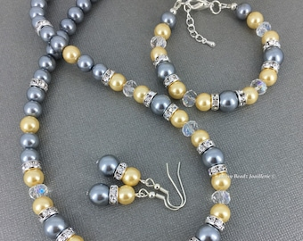 Bridesmaid Gift Maid of Honor Jewelry Light Yellow Necklace Grey Necklace Pearl Jewelry Wedding Jewelry for Bridesmaid Mother Gift