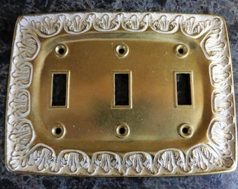 Triple Switchplate Cover Toggle Switch BF Rectangular shape Cover Antique Brass with White Switch Plate Metal LR28847