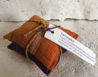 Lavender Bag Gift Set Handmade Purple Sari Recycled Small Patterned