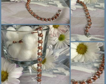 Copper and Silver Tone Chainmaille Weave Bracelet with Locking Magnetic Clasp