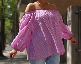 Pink Shirt, Off the Shoulder Shirt,Oversize Top,Extravagant Blouse,Off The Shoulder Top,Plus Size Top