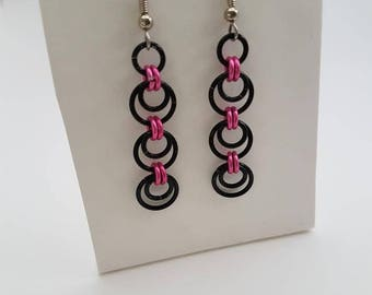 Black and Pink Handmade Chainmaille Earrings