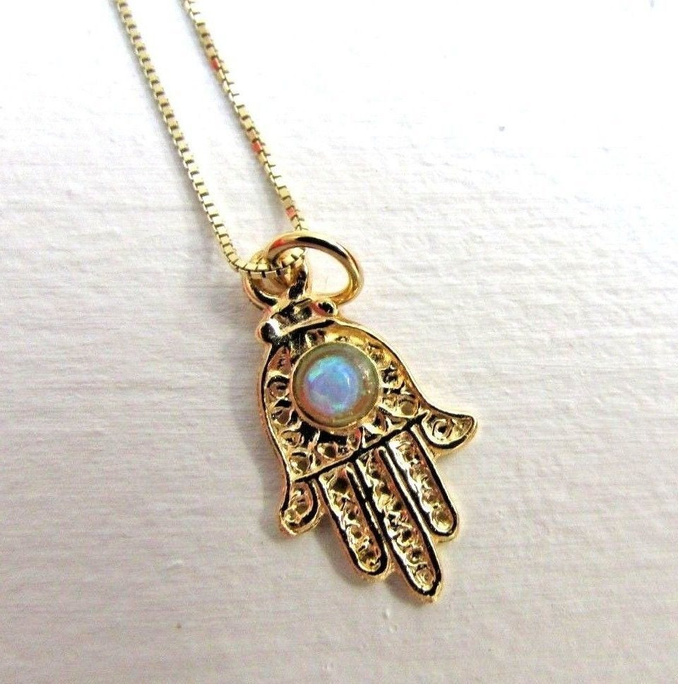 14k gold hamsa necklace opal hamsa gold charm on dainty gold zoom aloadofball Gallery