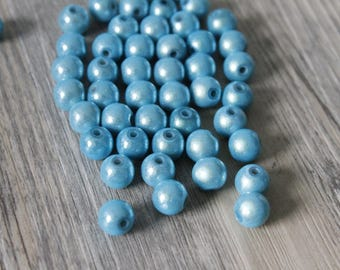 set of 10 beads Magic 8mm light turquoise color