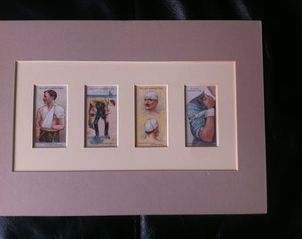 Vintage 4 Wills Cigarette Cards First Aid Part Set 1931 Mounted on card