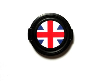 Union Jack camera lens cap for Canon, Nikon, Fuji, Sony etc. DSLR, Photography gift, photographers gift. Free shipping in North America.