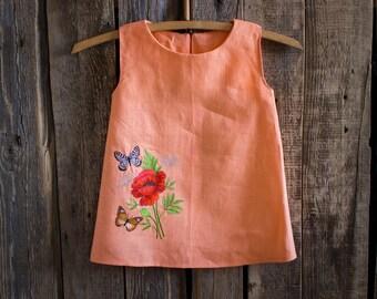 Flower Girl dress, Rustic Wedding, Girls clothing, Embroidered dress, Summer party dress, Baby dress, Toddler dress, Handmade girl dress,