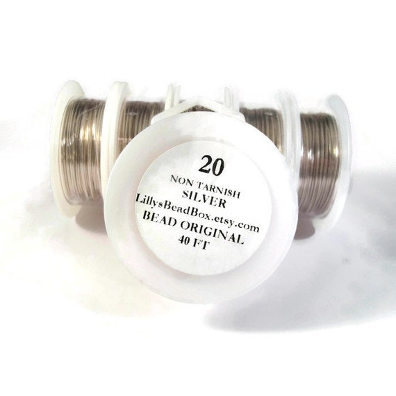 XL Spool - Silver Plated Wire - 20 Gauge - 40 Foot Spool - Round Wire for Making Jewelry, Non Tarnish Wire, Wire Wrapping Supplies
