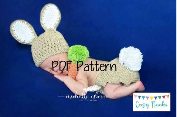 Newborn Bunny Pattern and Carrot Rattle, Crochet Bunny Outfit ...
