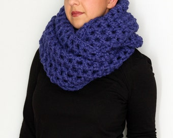 Extra Wide Chunky Cowl, Cobalt Blue Wool Acrylic Blend Oversized Infinity Scarf, Crochet Cowl, Winter Fashion Accessories