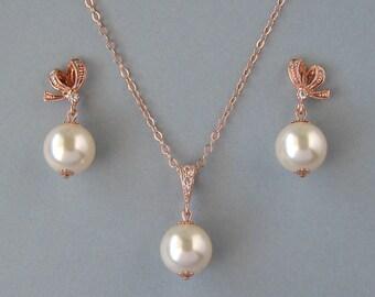 Genuine Swarovski, Bridal Jewelry,Cream Swarovski Pearls, Rose Gold Plated, Gold Filled, Necklace,Stud Earrings,Set, Bridesmaid Gift - DK825