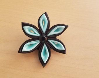 Black & Mint Tsumami Kanzashi Hair Clip