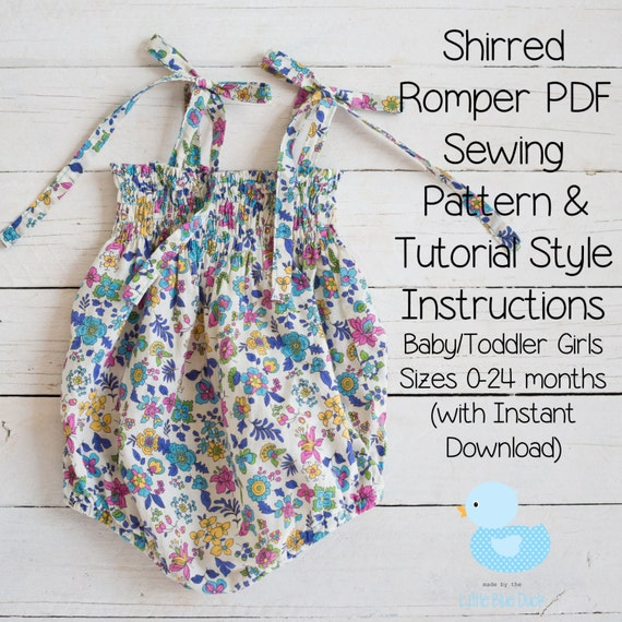 Shirred Romper PDF Sewing Pattern & Tutorial Style Instructions Baby ...