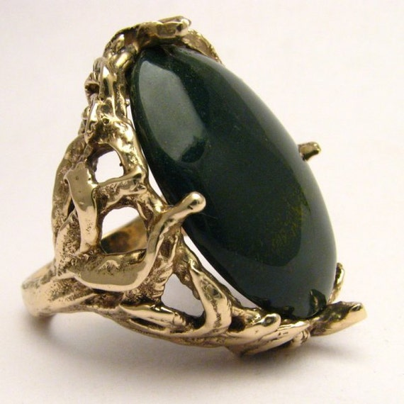 Handmade 14kt Gold Bloodstone Massive Claw Ring