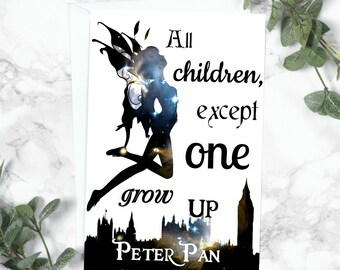 Peter Pan Card J.M Barrie, Literary Gift, Book Gift, Neverland, Book Lover