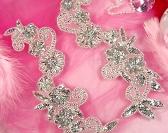 0183  Silver Mirror Pair Floral Sequin Beaded Appliques (0183-sl)