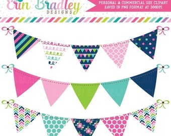 80% OFF SALE Cheery Day Bunting Clipart, Banner Flag Clip Art Graphics in Pink Navy Blue & Green Commercial Use OK