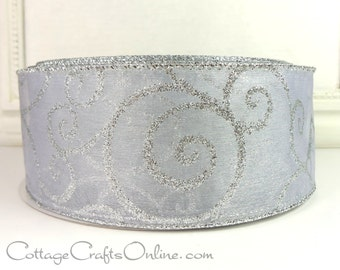 """Christmas Wired Ribbon, 2 1/2""""  White Sheer with Silver Glitter Filigree Swirl Scroll, THREE YARDS,  Craft Wire Edged Ribbon"""