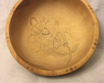 Wooden Floral Bee Decorative Bowl