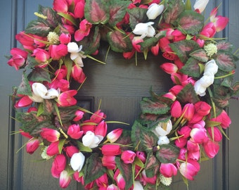 Tulip Wreath, Spring Tulip Wreaths, Spring Trends, Pink Wreaths, Pink and White Decor, Tulip Door Wreaths, Spring Designs, Pink Tulip Wreath