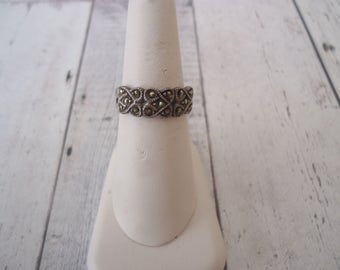 Vintage Art Deco Style 925 Sterling and Marcasite Band Ring, Size 6.5, 4 Grams Minimalist Ring Pinky Ring