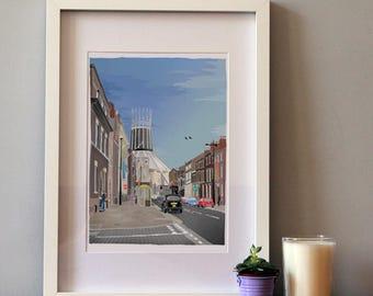 Liverpool Metropolitan Cathedral, Wigwam, Illustrated print
