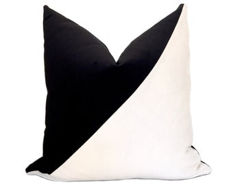 Black and white Color block  pillow cover ,velvet decorative cushion cover.all size
