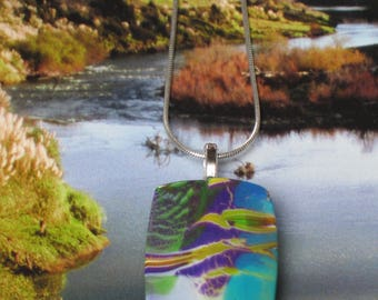 Marbled with variegated colors purple, yellow and turquoise pendant