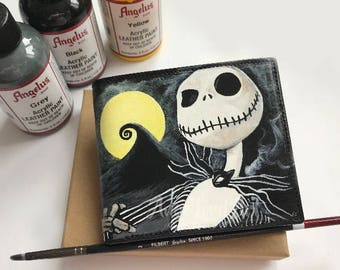 Brand new Custom Painted Nightmare Before Christmas Jack Skellington inspired black leather wallet. Hand painted. Immidiate shipping