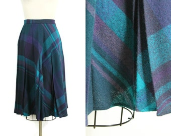 Vintage Wool Skirt / 1970s Midi Wool Plaid Skirt / 70s Teal and Purple Knee Length Pleated Skirt