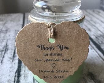 24pcs Heart or Flower Personalized Favor Tags • Wedding Gift Tags  • Party Baby Shower Christening Birthday Anniversary Thank You Tags