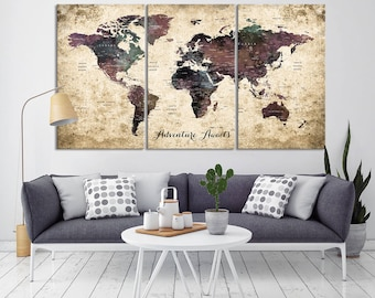 World map canvas etsy world map canvas gumiabroncs Image collections
