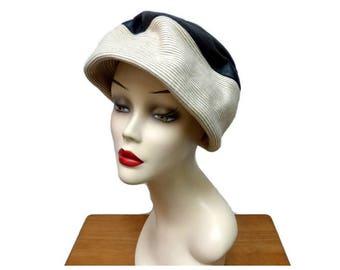 1960s Mod Pleather Toque Hat Vintage Mr John Junior Size Medium Brown Beige Bucket