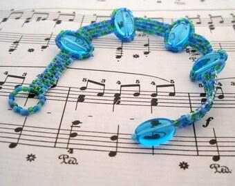 DISCONTINUING Beaded Bracelet - Green Blue Purple Skinny by randomcreative on Etsy
